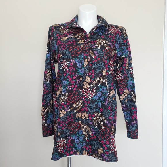 Lands' End Plus Size 16T Tall No Iron Floral Shirt